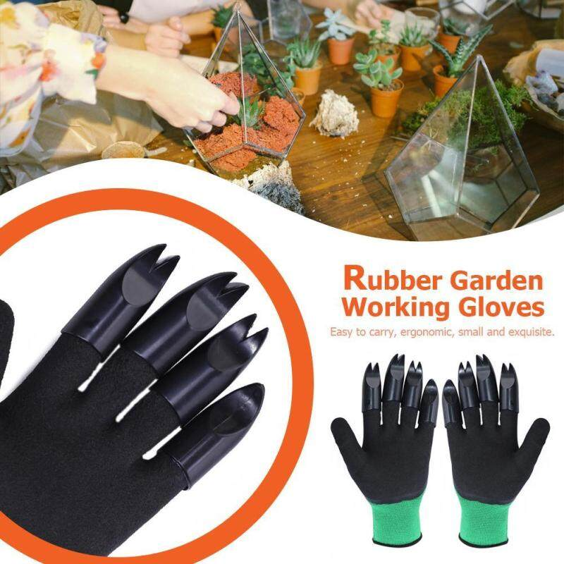 1 Pair Garden Gloves with 8 Fingertips Claws Raking Digging Planting Gloves