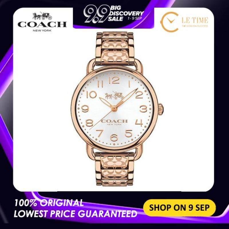 [Authentic] Coach Delancey Silver Dial Rose Gold-tone Women Ladies Fashion Watch Jam Tangan Wanita - 14502497 Malaysia