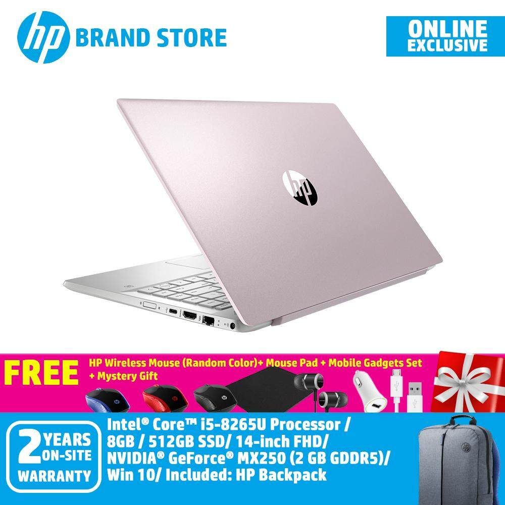 [Exclusive Model] HP Pavilion 14-ce2089tx Notebook 7DP86PA Tranquil Pink /i5-8265/8GB/512GB/14Inch FHD/MX2502GB/Win10+Free Premium Free Gifts Malaysia