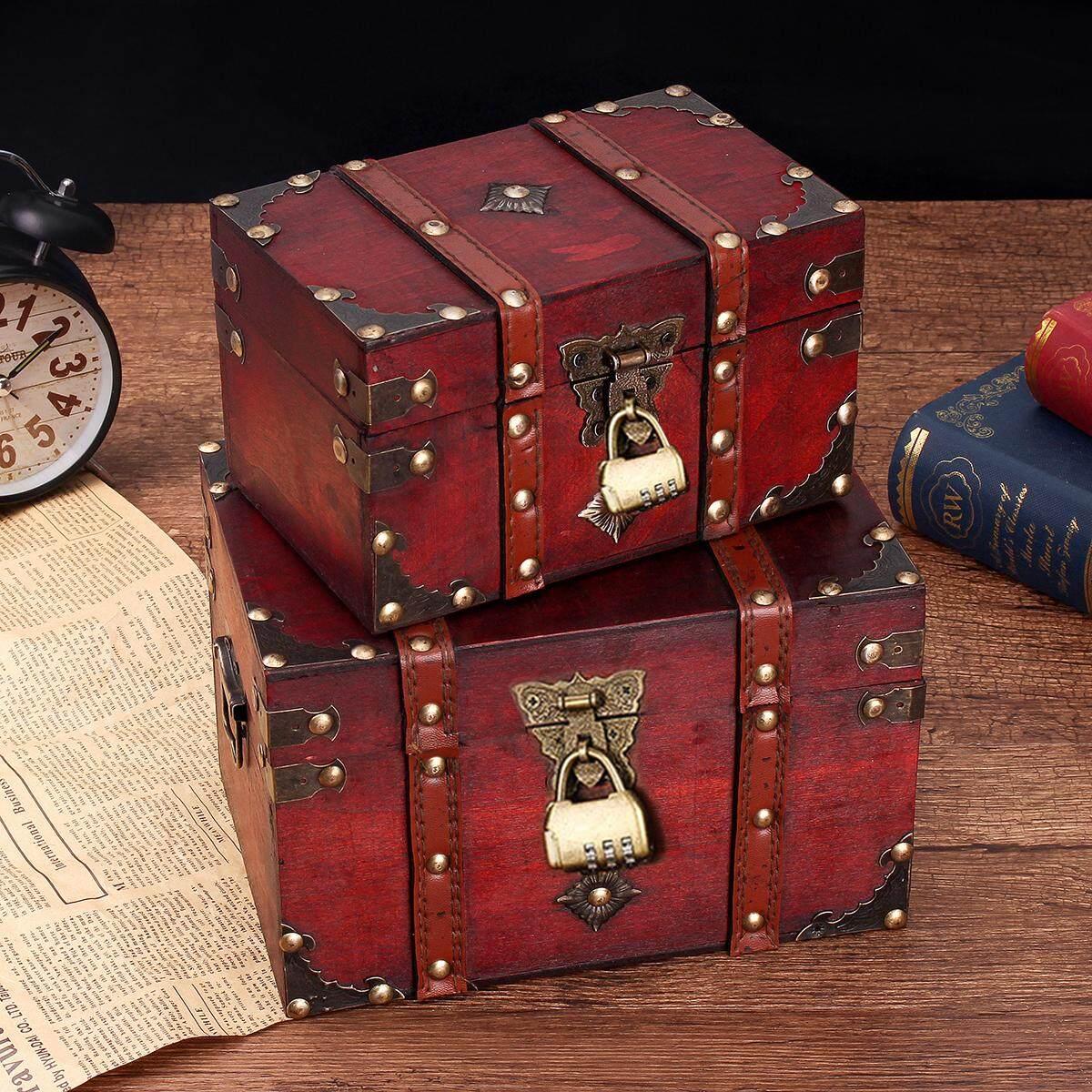 S/L Sizes Vintage Wooden Storage Box Jewelry Treasure Pearl Display Organizer Holder With Lock