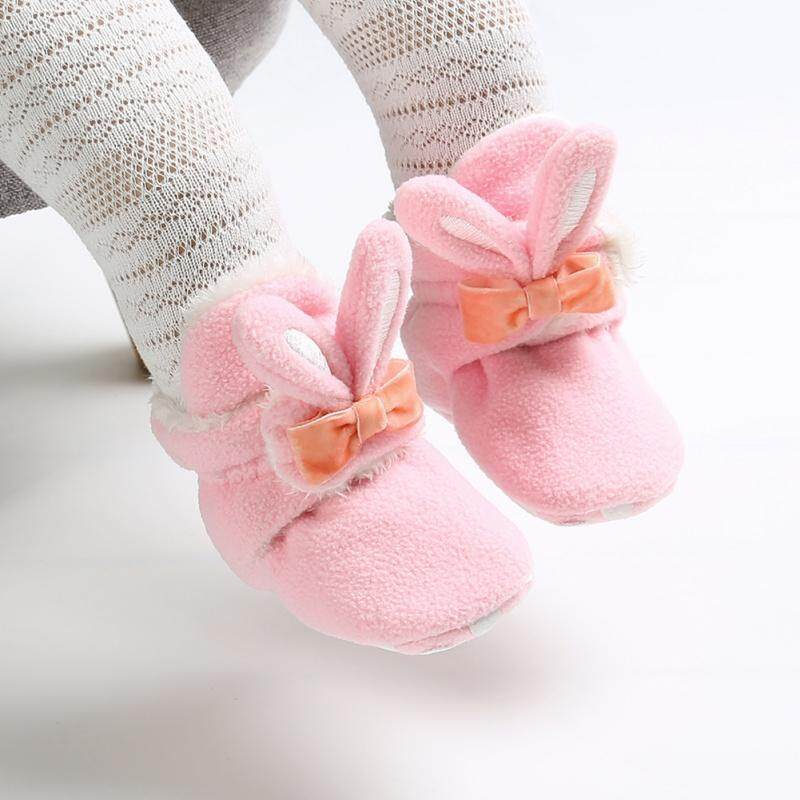 Adorable Baby Girls Princess Boots Cute Rabbit Pearl Fur Flock Ball Leather Sneaker Snow Shoes