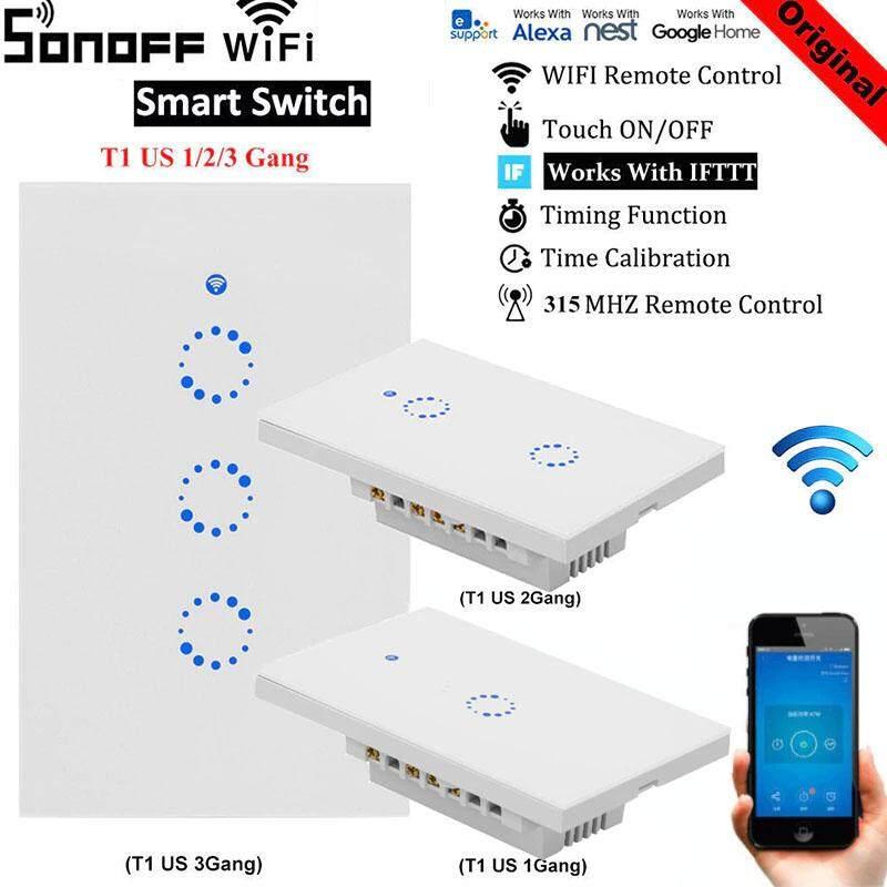 Chiêm Sonoff T1【1 Gang】Work với Google Nhà Alexa HOA KỲ Nhà Thông Minh Wifi Điều Khiển Từ Xa RF Đèn Công Tắc Bảng Treo Tường công Tắc Đèn cảm ứng