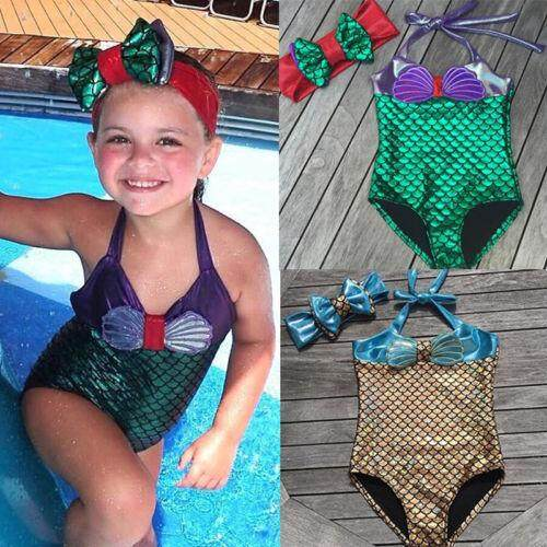Baby Kids Girls Mermaid Bikini Swimsuit Swimwear Bathing Suit One-Pieces By Nikit.