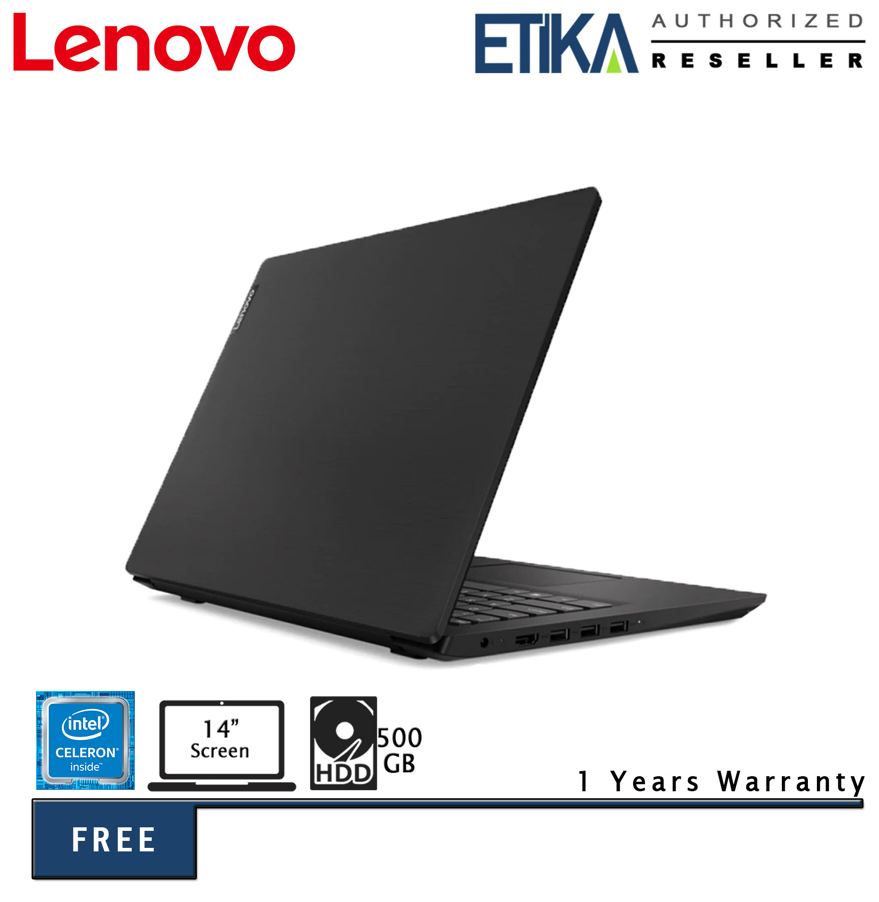 Lenovo S145-14IWL 81MU001VMJ 14  HD Slim Laptop (Celeron 4205U/ 4GB/ 500GB/ Integrated/ W10) - Free Carrying Case Malaysia