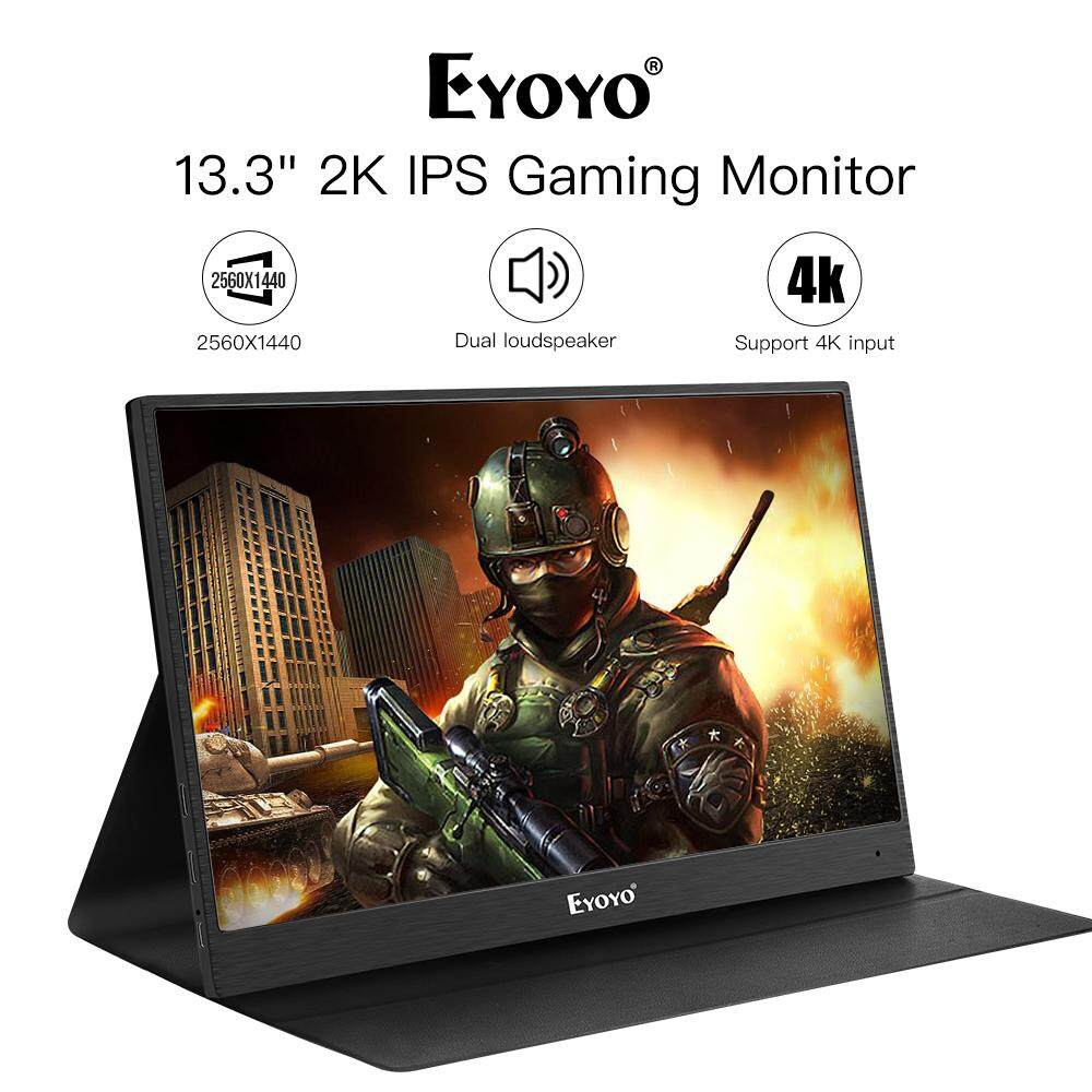 Eyoyo 13 Portable PC Gaming Monitor, 2540x1440 High Resolution IPS Game Monitor with HDMI Input for Xbox One Xbox 360 PS3 PS4 WiiU Switch Raspberry Pi 3, 2 1 Model B B+ w/ Built-in Speakers