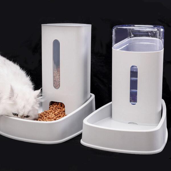 Máy Cho Mèo Ăn Tự Động Máy Nhả Thức Ăn Cho Chó Và Đài Phun Nước Dung Lượng Lớn Cho Chó Lớn Thú Cưng Chó Con Nhỏ (Bộ Nạp, Xám)
