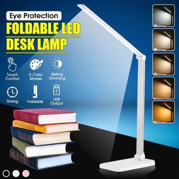 Folding Dimmable 6500K 52 LED Desk Light Table 5V USB Reading Lamp Touch Battery