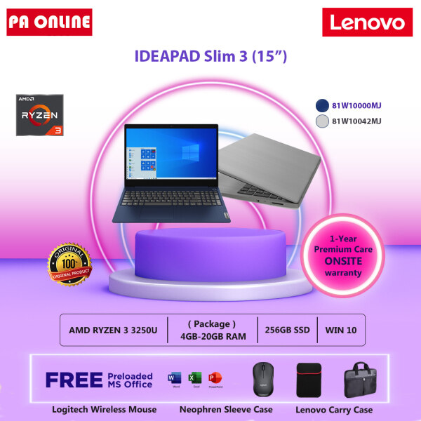 Lenovo Ideapad 3 15ADA05 81W10042MJ (20GB RAM) -AMD Ryzen 3-3250U /4GB-20GB RAM /256GB SSD /15.6 HD /Radeon Graphic /Win 10 /Ms office /1 Year Malaysia
