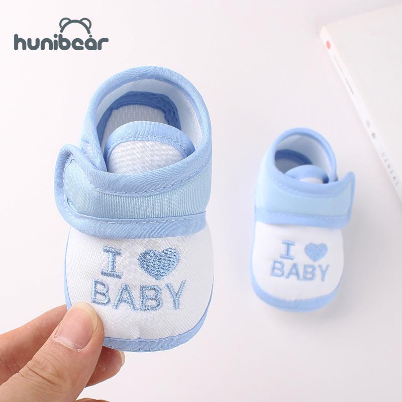 [Hunibear] Giày em bé chất liệu cotton mềm mại thiết kế dán dễ sử dụng kèm đế chống trượt, phù hợp cho bé 0-3 tuổi