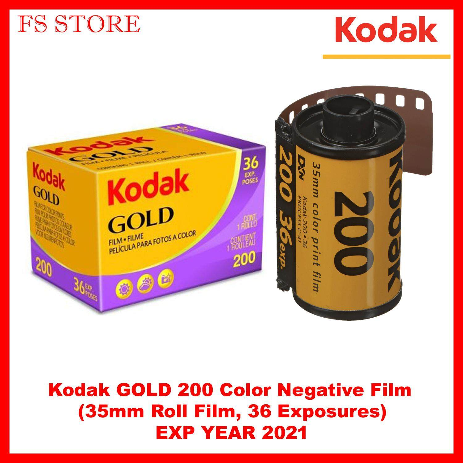 Kodak Gold 200 Color Negative Film (35mm Roll Film, 36 Exposures) Exp Year 2021 By Fs Store.