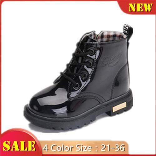 Giá bán Ấm Áp Cho Bé Giày Trẻ Em Chống Nước Mắt Cá Chân Giày S S Da Bò Con Casual Giày Bốt Martin Giày Cho Bé Size 21- 36
