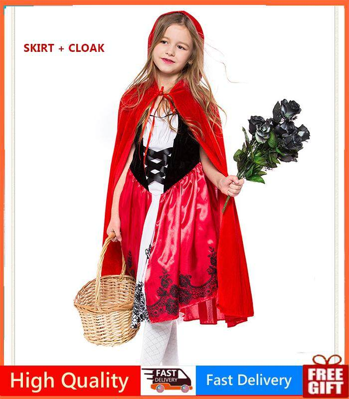 Girl Little Red Riding Hood Meristmas Party Cosplay Dress Princess Halloween Costume DS Clothes for Party Queen Costume Cosplay