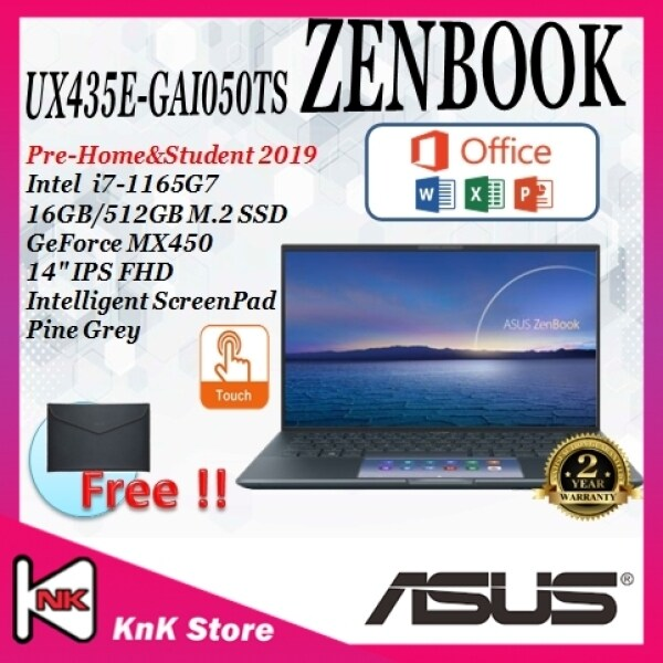"ASUS ZENBOOK (UX435E-GAI050TS)LAPTOP / i7-1165G7/ 16GB RAM/ 512GB SSD/ MX450/ 14""/ SCREEN PAD/ WIN10/ 2 YEARS WARRANTY Malaysia"