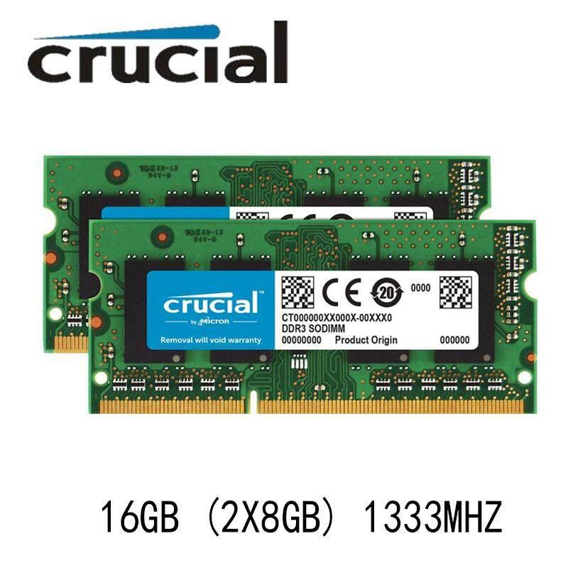 Crucial 16GB 2X 8GB PC3-10600S Memory DDR3 1333MHz 2RX8 Laptop RAM So-dimm 1.5V