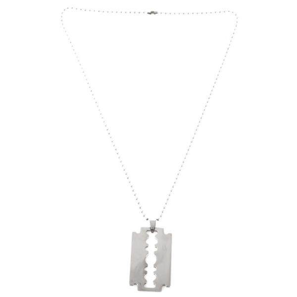 Mens Stainless Steel Razor Blade Pendant Chain Necklace Silver