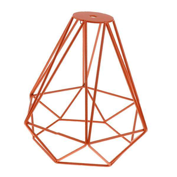 Perfk Industrial Diamond Loft Pendant Ceiling Living Light Cage Lamp Shade Orange
