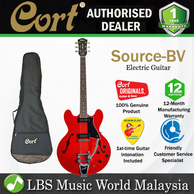 Cort Source-BV Set In Semi Hollow Cutaway Maple Top Electric Guitar Cherry Red with Bag (Source BV) Malaysia