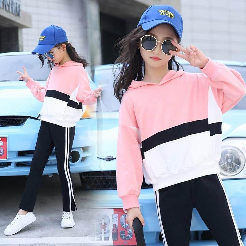 Bộ đồ trẻ em Bé Gái Nối Thu Đông Mới Nguyên Chất 2018 Cotton Hàn Quốc 2 May Bộ Dễ Thương Xu Hướng Bộ 4-12 Tuổi