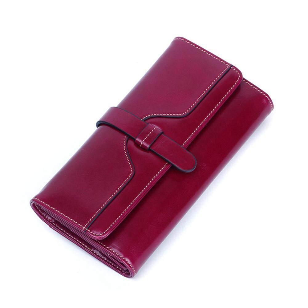 Leegoal Wanita Tas Dompet Fashion Vintage Wanita RFID Memblokir Asli Kulit Lipat Tiga Dompet (19
