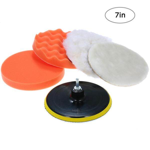 6pcs 7 Car Foam Polishing Waxing Pad Kits Buffing Pad Polishing Wheel Sponge and Wool Buffing Pads Set with M14 Drill Adapter Threaded