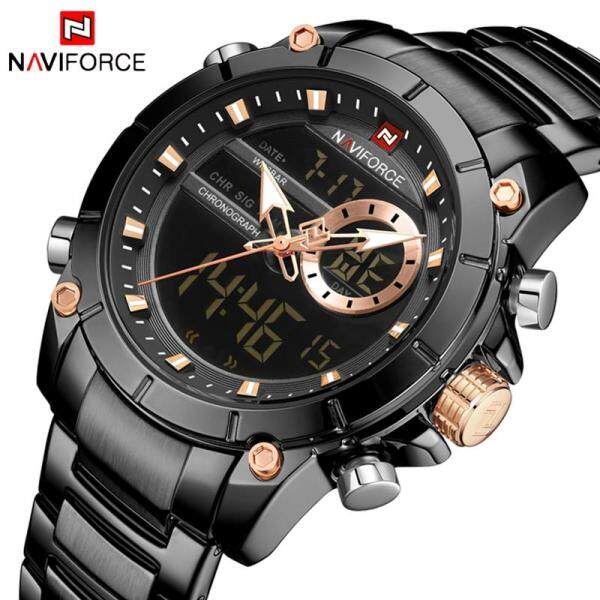 NAVIFORCE Mens Watches Fashion Sport Quartz Men LED Digital Electronic Watch For Men Full Steel Casual Waterproof Military Analog Clock Malaysia