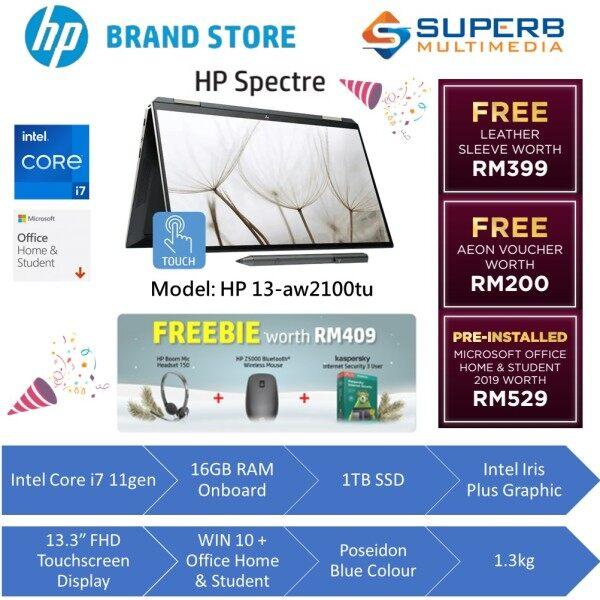 HP Spectre x360 Convertible 13-aw2100TU Laptop (Intel Core i7 11gen, 16gb ram, 1tb ssd, 13.3 FHD, win10, OPI) Malaysia