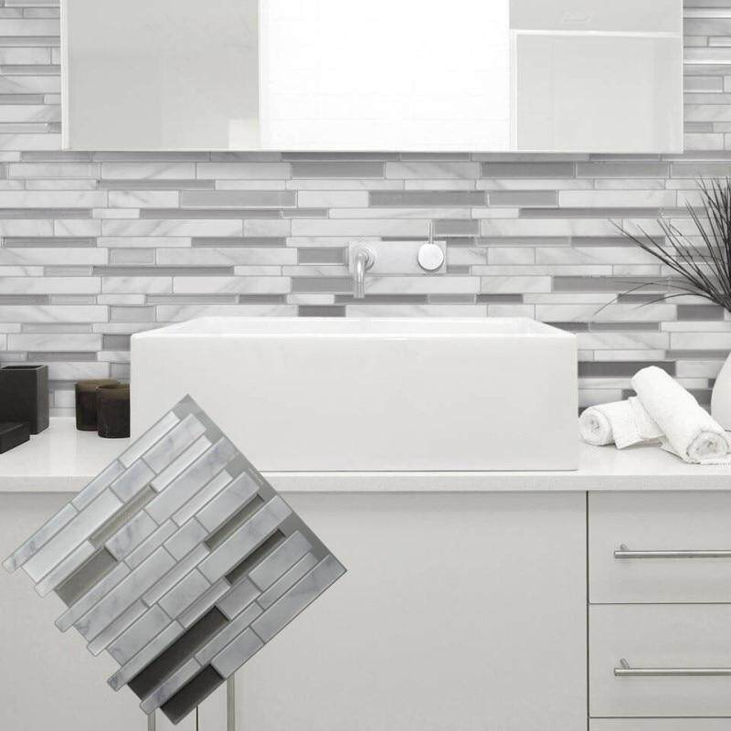 Aluminum Mosaic Tile Sheet Home Kitchen Bathroom Backsplash Wallpaper Decor DIY