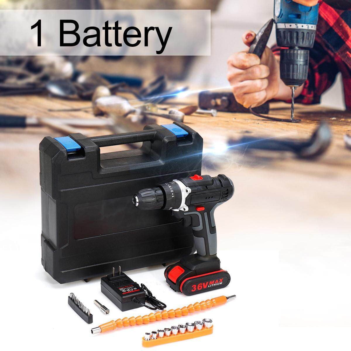 26/2728pcs Torque Double Speed Brushless Screwdriver Hammer 10mm Chuck Power Tools With LED Light(1/2/3Pcs Battery) Cordless Electric Drill 36V 6500mAh