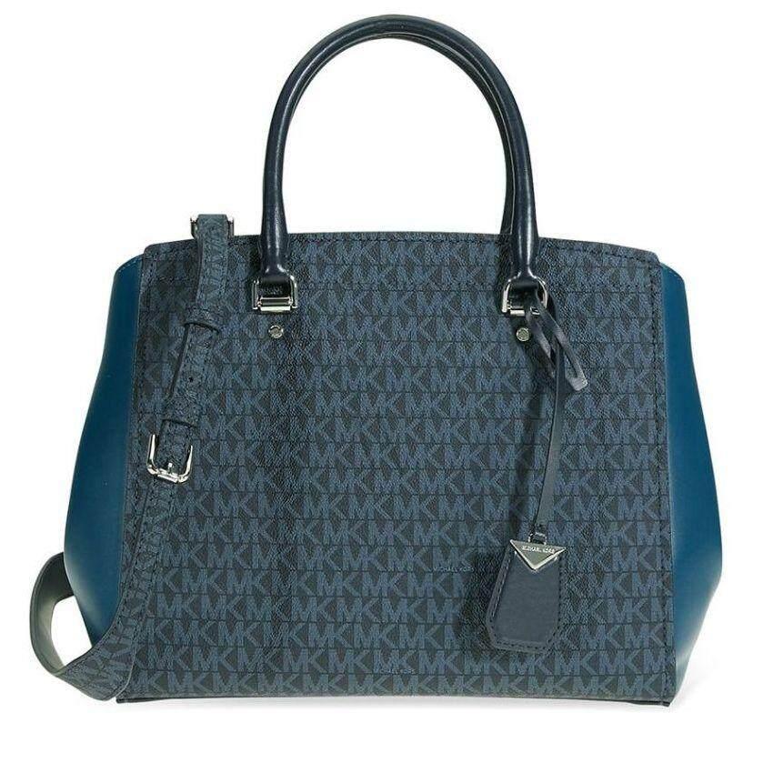 47e86c6eb1ba Logo print with signature Michael Kors Benning Tote Bag-Blue 30F8SN4S3B-489