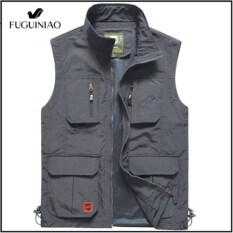 Fuguiniao Áo gile nhiều túi fuguiniao cho nam, áo ghi lê cỡ lớn, mặc hàng ngày kiểu quân đội, không tay, M-5XL