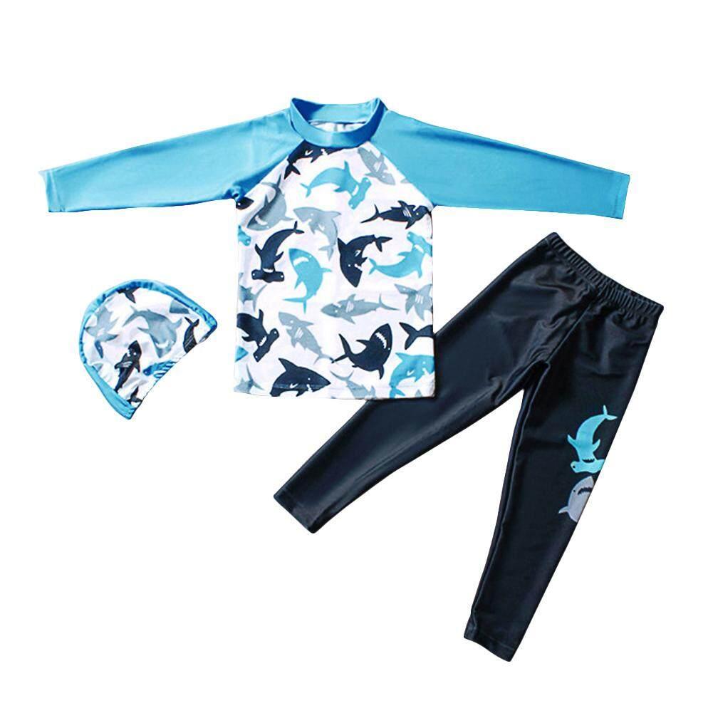 ebe916bf7 Children Boy Long-sleeved Split Dolphin Pattern Sun Protection Swimsuit
