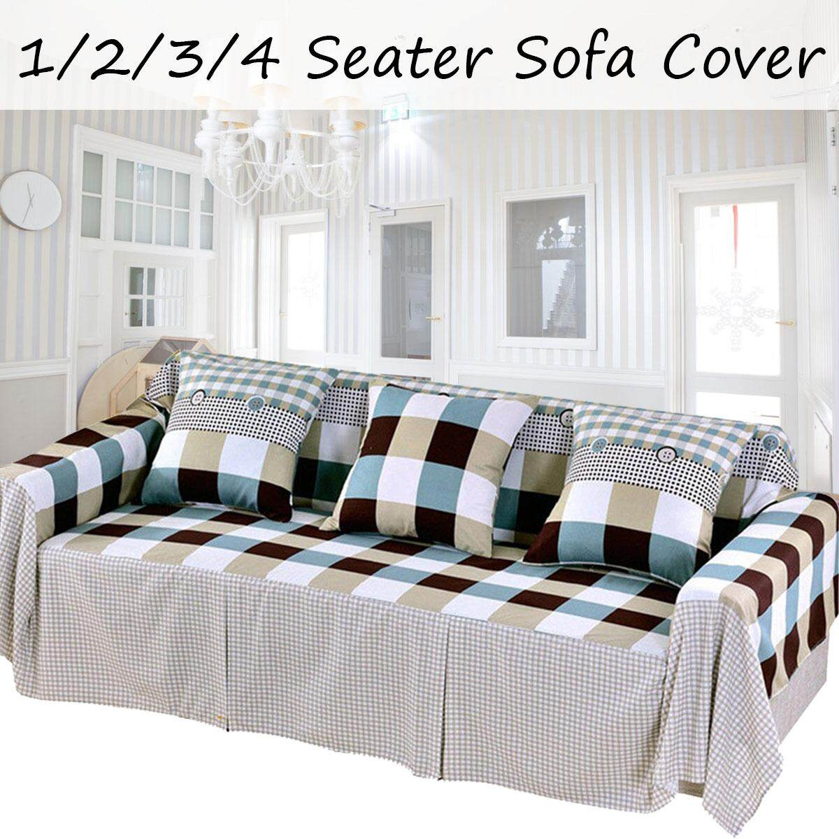 2 Seater Cotton Blend Slipcover Sofa Cover Protector Chair Couch Covers