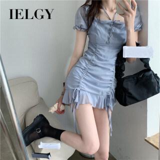 Đầm denim cổ vuông phong cách tiểu thư ngọt ngào chi tiết dây rút tôn dáng IELGY thumbnail