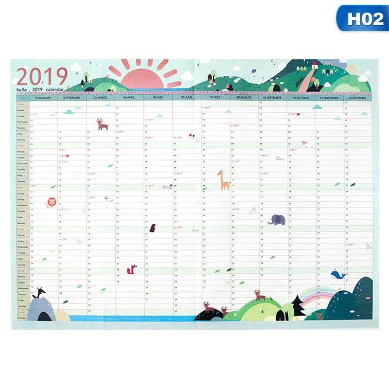 Meiyang 2 Sheets 2019 365days Paper Wall Calendar Office School Daily Planner Notes Very Large Study New Year Plan Schedule 43*58cm By Meiyang.