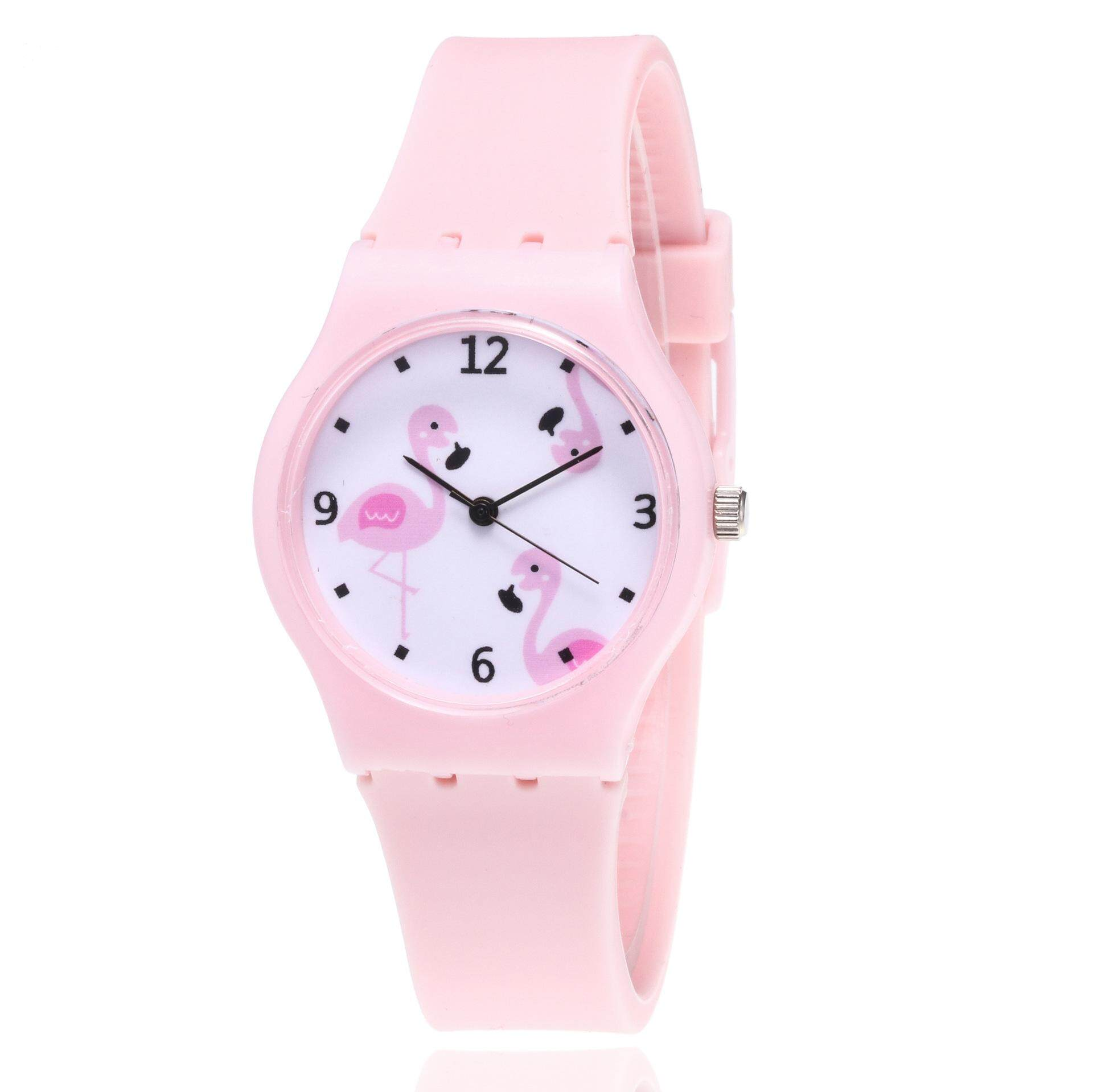 2019 new kid watch cute cartoon animal flamingo design silicone band candy color strap quartz wristwatch she will be loved SLWKI08 Malaysia