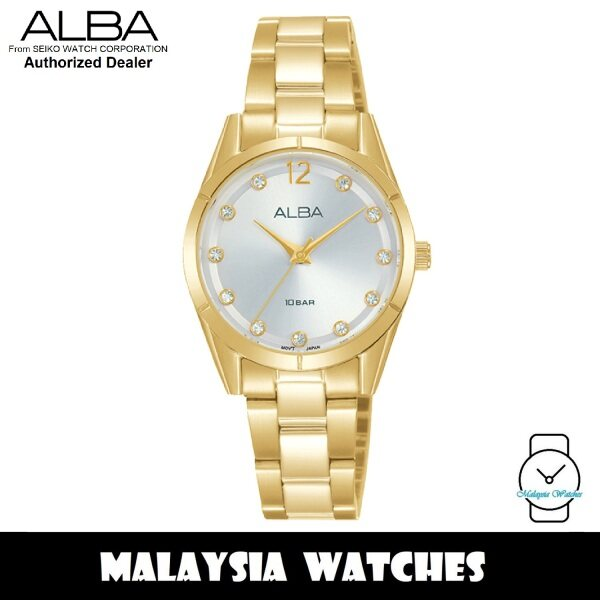 ALBA AH8740X Quartz Analog Silver Dial Swarovski Crystal Gold-Tone Stainless Steel Ladies Watch AH8740 AH8740X1 (from SEIKO Watch Corporation) Malaysia