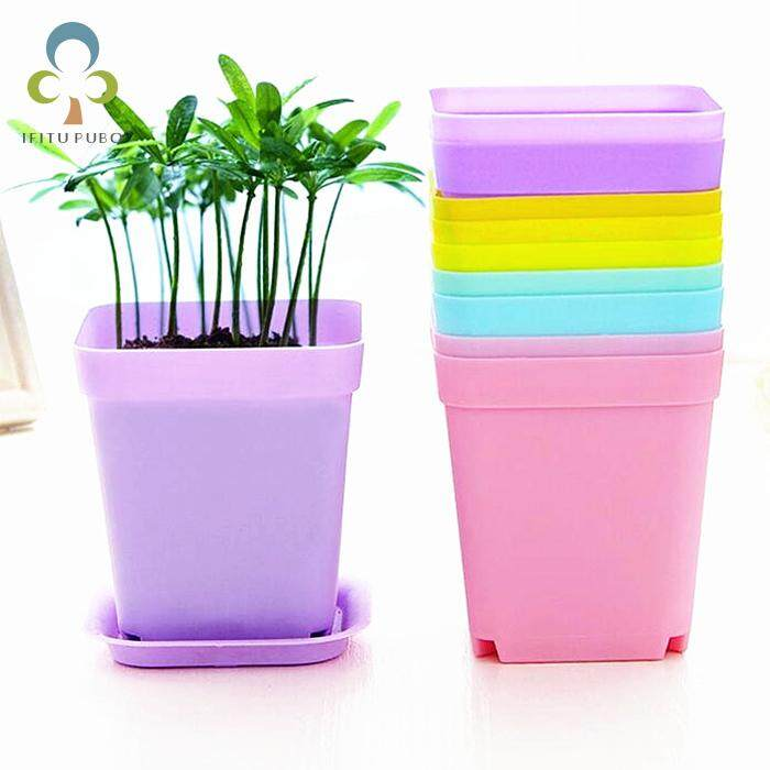 10pcs Flower Pot Square Plastic Planter Nursery Garden Desk Home Decor Candy Color 7 Random Colors free shipping GYH