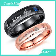 Bac ของเขาราชินีของเธอกษัตริย์ rhinestone สแตนเลสแหวนคู่ของเขาและเธอจับคู่แหวนแต่งงานสำหรับคนรัก