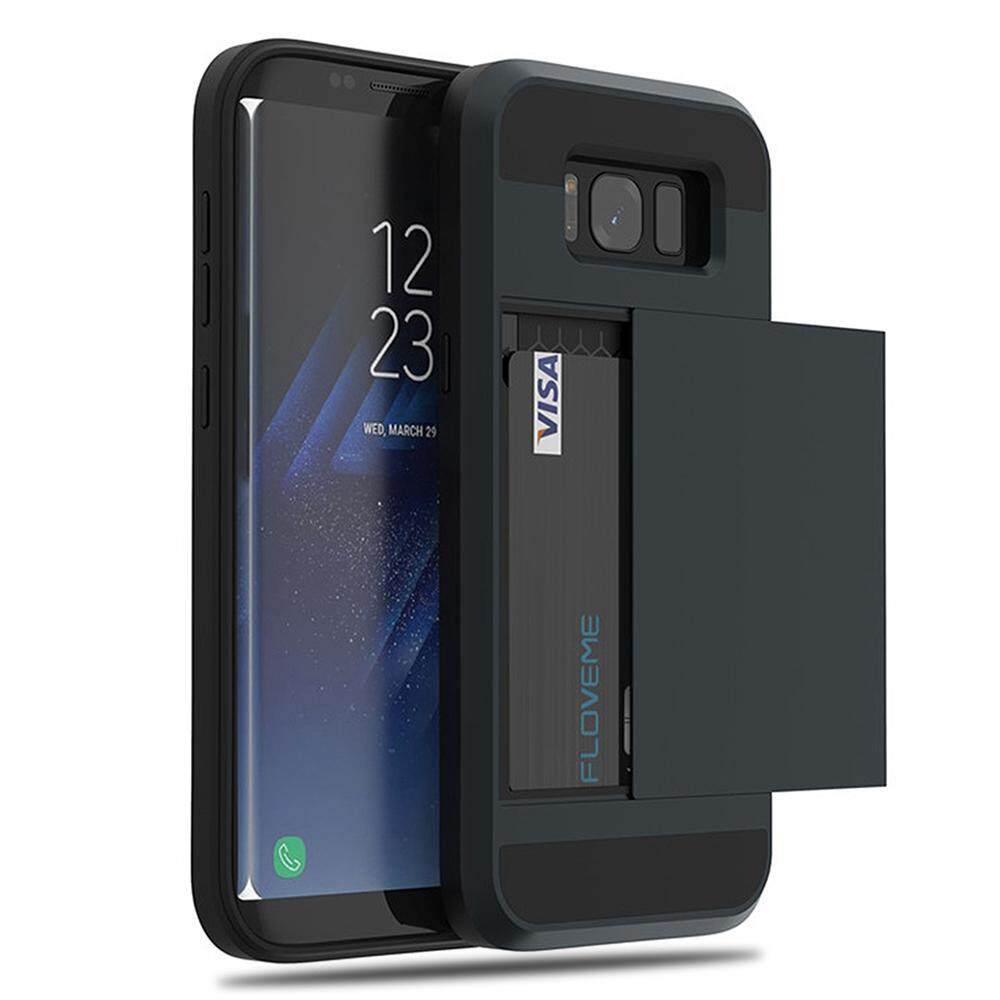 Convenient glide card holder Phone Cases For Samsung Galaxy S8 S9 Plus S7 edge Card Slot