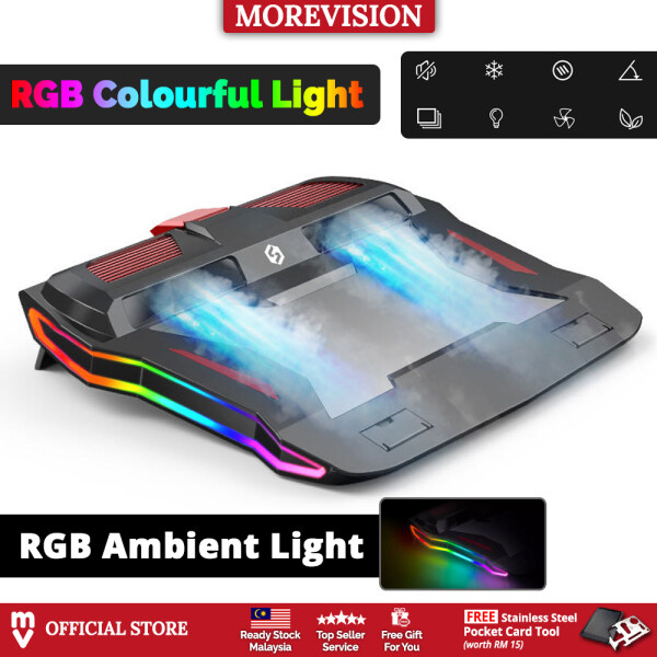 RGB Gaming Laptop Cooler Pad Two Powerful Fans USB Adjustable Speed Height Cooling LED Lighting for PC Notebook Stand Malaysia
