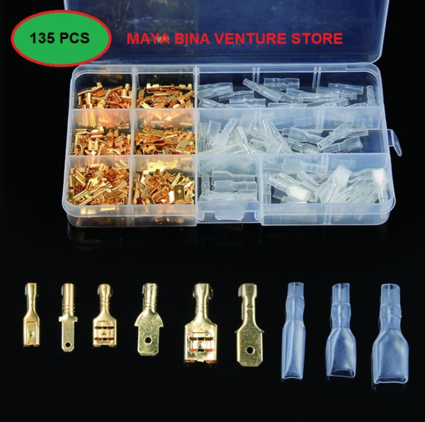 [WITH BOX] 135PCS Insulated Seal Crimp Terminal 2.8/4.8/6.3mm Electrical Wire Connectors Crimping Terminals Connector Kit