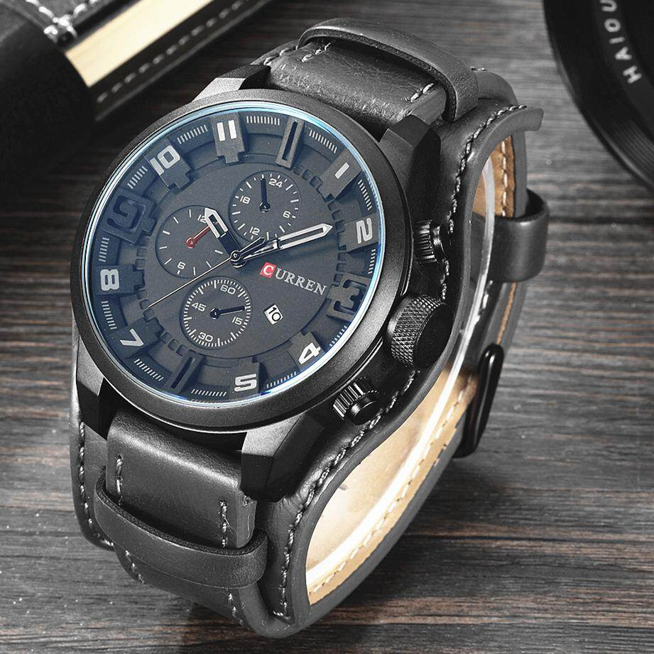 (100% Genuine) CURREN Fashion Men Watch Brand Luxury Military Watches Business Leather Strap Waterproof Casual Quartz Wristwatches 8225 Malaysia