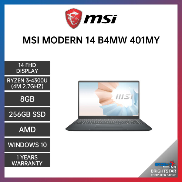MSI MODERN 14 B4MW-401MY LAPTOP 14 FHD / AMD R3-4300U / 8GB / 256GB SSD / AMD / 1 YEAR WARRANTY + Free Additional 6 Month Warranty Malaysia