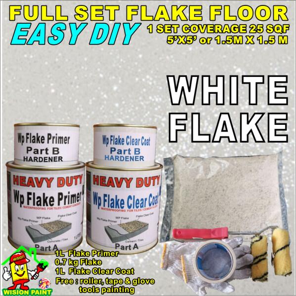 WHITE 00 FULL SET  EPOXY FLAKE COLOUR  ( FREE 1 SET PAINTING TOOLS ) full set  flake coating WATERPROOFING  /  DIY /  CEMENT / TILES / CERAMICS  ETC