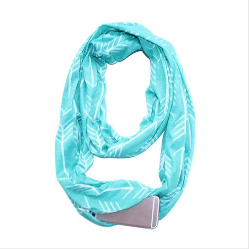 valueshopping Fashion Women Winter Thermal Active Polyester Scarf With Zip Pocket T Yyyy U