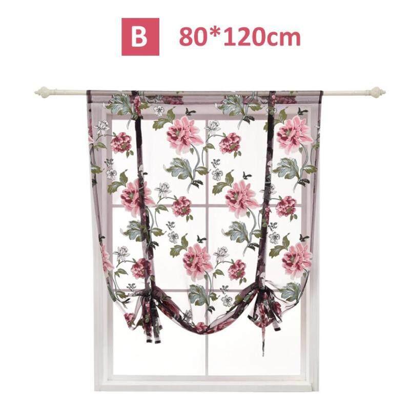 Hoa Mẫu Đơn Roman Rèm Ngắn Trong Suốt Phòng Ngủ Nhà Bếp Rèm Phòng Tắm Trang Trí Nội Thất