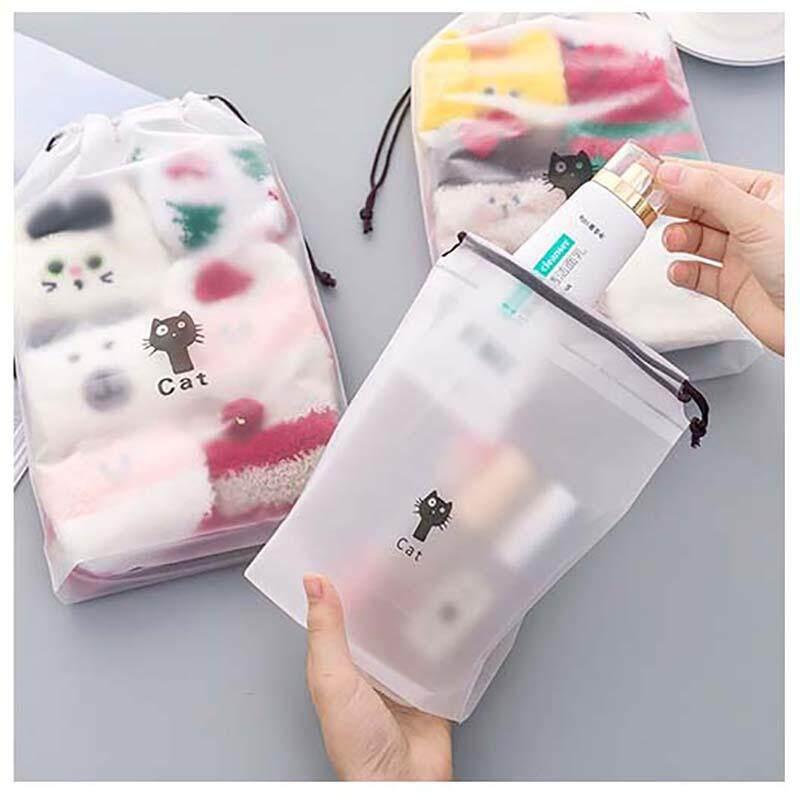 169ca49f836a 3PCS Cute Cartoon Cat Transparent Cosmetic Bag Women Travel Makeup Bag  Bathroom Organizer Storage Bag Pouch