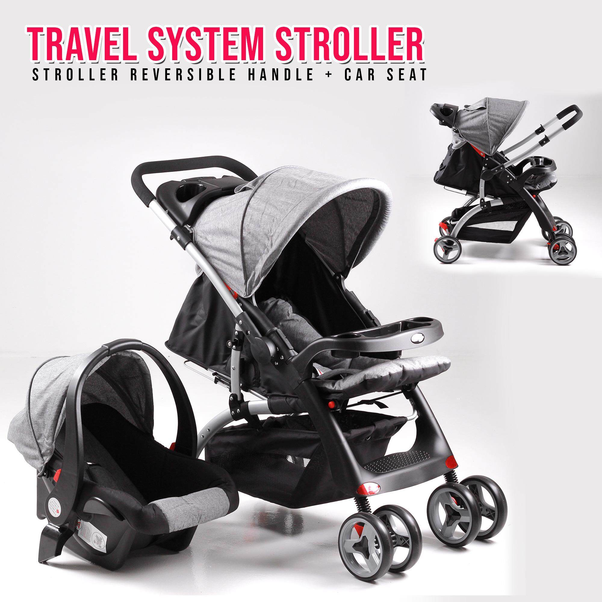 Mamakiddies Reversible 2 in 1 Travel System Newborn Stroller Pushchair with Baby Car Seat - Grey