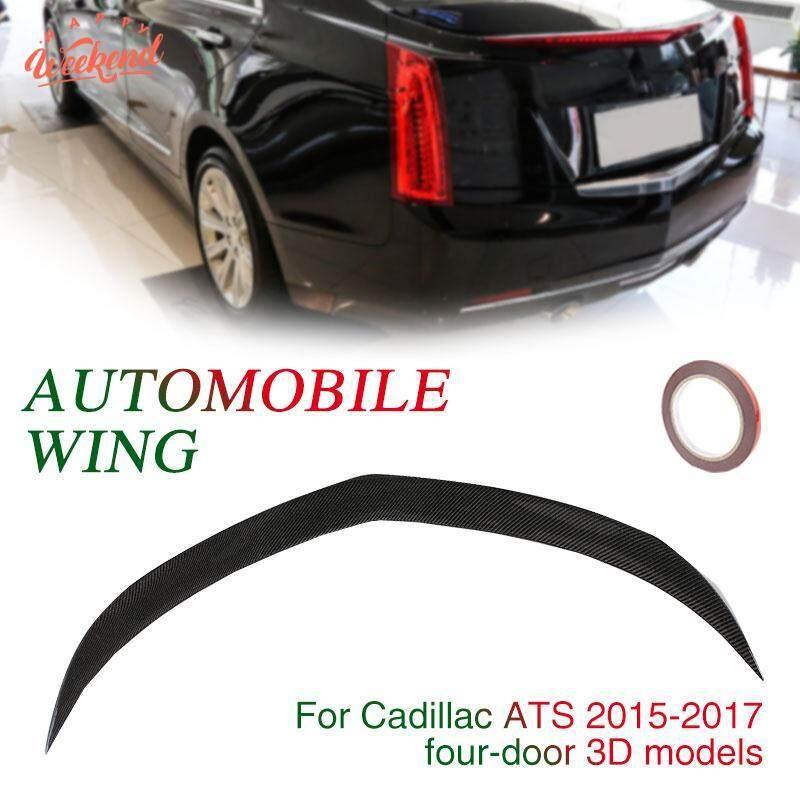 Mobil Tail Wing Spoiler Wing Batang Belakang Sayap Serat Karbon Hitam 4 Pintu Dekorasi Bagasi Trim untuk Cadillac ATS Sedan