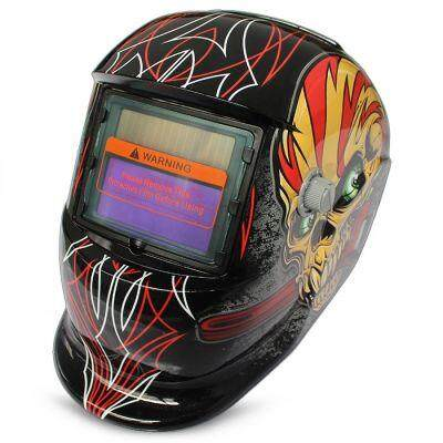 Solar Energy Automatic Changeable Light Electric Welding Protective Helmet with Film Character Pattern (BLACK)